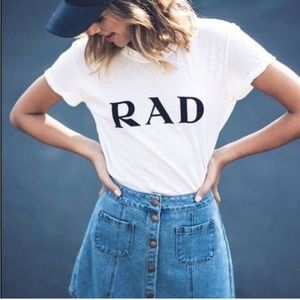 "Brandy Melville ""Rad"" White Graphic Tee"